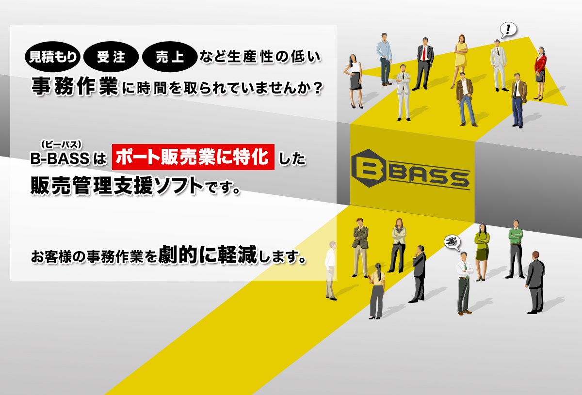 B-BASS(ビーバス)はボート販売に特化した販売管理支援ソフトです。